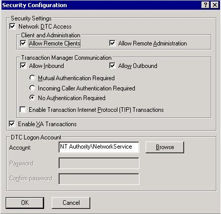 Network access for Distributed Transaction Manager (MSDTC